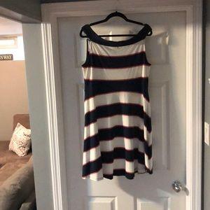 Striped a line boat neck dress